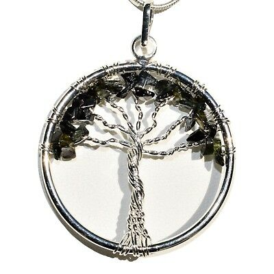 "CHARGED Black Tourmaline Tree of Life Perfect Pendant™ REIKI 20"" Silver Chain"
