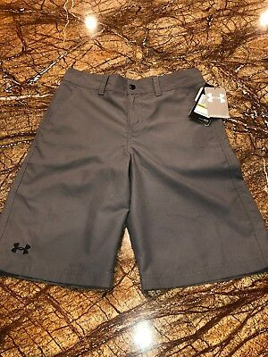 NWT Under Armour Boy's Size 14 HeatGear Loose Fit Golf Shorts ~Gray~ MSRP $39.99