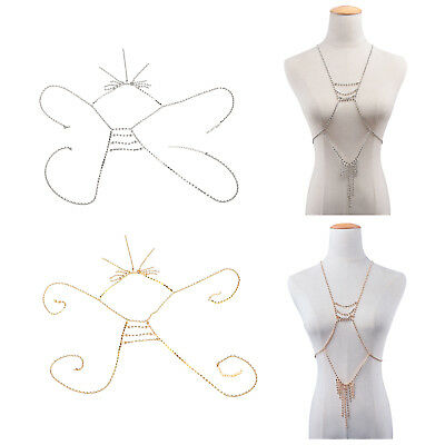 Women Bikini Rhinestone Harness Sexy Belly Waist Body Chain Neckline Jewelry