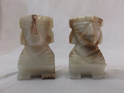 Vintage Hand Carved Stone Marble Aztec Mayan Statue Idol Bookends 5""