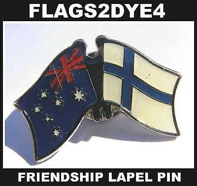 Australia flag Finland Finnish lapel pin badge + AUSTRALIA POST TRACKING