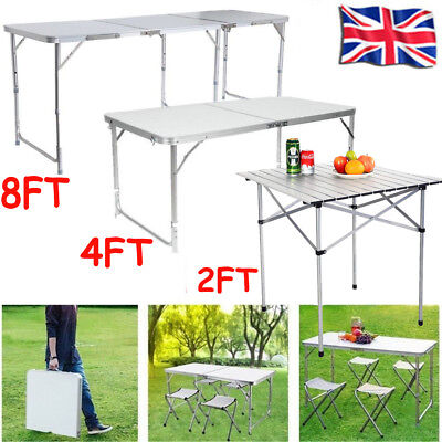 2/4/8FT Portable Folding Table Garden Camping Picnic Party Banquet BBQ White UK