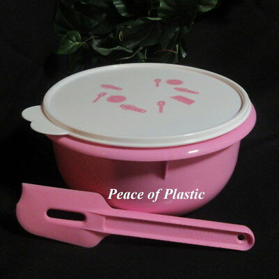 Tupperware New 12 Cup Classic Flat Bottom Pastel Pink Mixing Bowl White Seal etc
