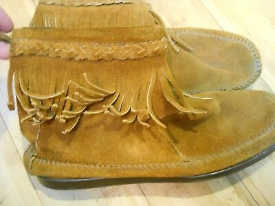 Minnetonka Moccasin 292 Womens Brown Suede Fringe Booties Back Zip Ankle Boots 7