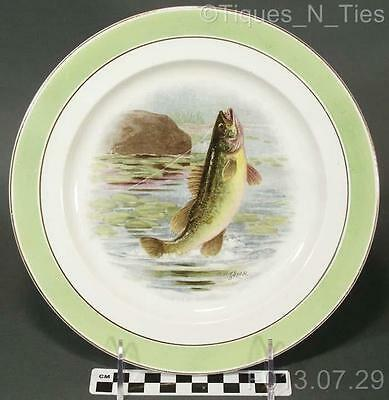 Antique Buffalo Pottery China Game Fish Plate R.K. Beck Artist Signed (227) (FF)