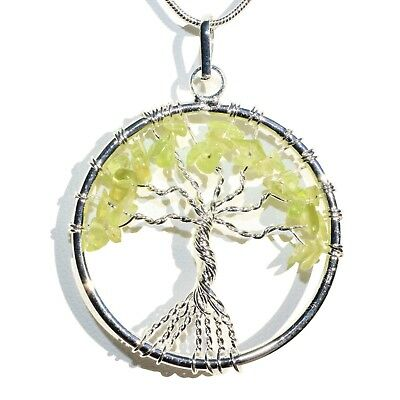 """CHARGED Peridot Tree of Life Perfect Pendant™ REIKI 20"""" Silver Chain"""