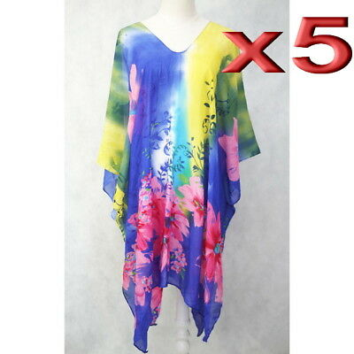 5pc wholesale Large Women Summer Chiffon Beach Kaftan Top Boho Dress Free Size
