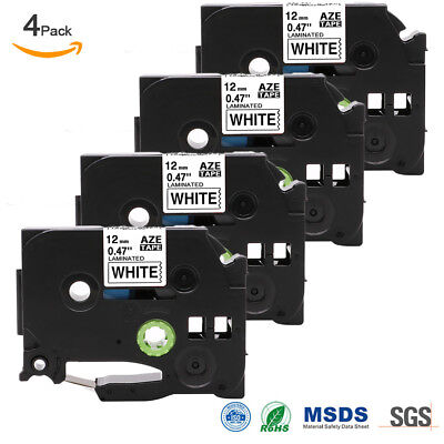 Compatible Brother TZ-231 P-Touch Black On White Label Tape 12mm x 8m TZe231 4PK