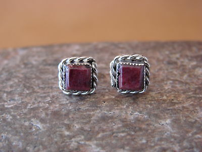 Native American Sterling Silver Square Purple Spiny Oyster Post Earrings by LeAn