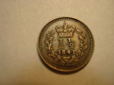 Great  Britain Silver   1 And  1/2 Penny   1841    Gem Unc