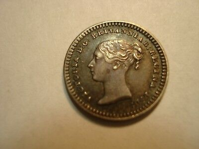 Great  Britain Silver   1 And  1/2 Penny   1843    Unc