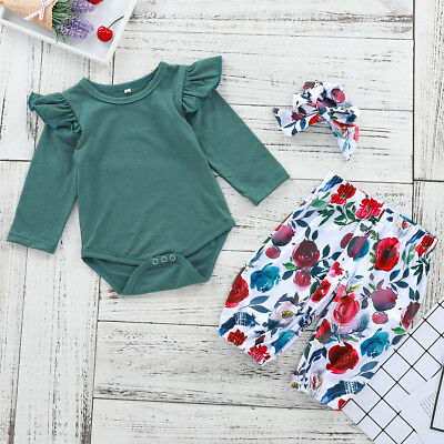 3PCS Newborn Baby Girls Floral Outfits Clothes Tops Romper+Pants Headband Set AU
