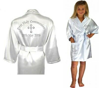 Children's Personalised Holy Communion Confirmation Day Satin Silky Robe Child's