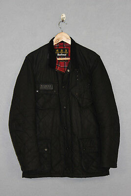 Mens Barbour International Quilted Waxed Jacket Black Size M