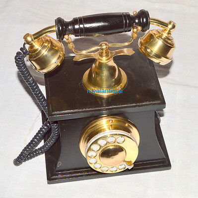 Vintage Style Brass Wood Retro Table Telephone Dial Ancient Decor Gifit Item