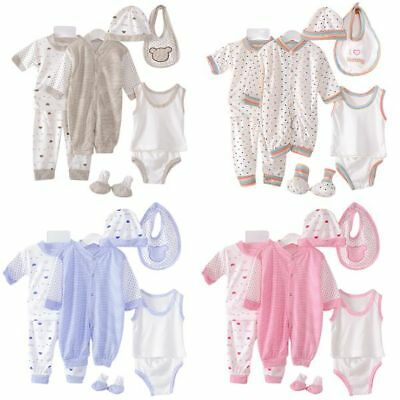 5pcs Newborn Baby Clothes Unisex Infant Outfits Layette Set With Cute Cartoon UK