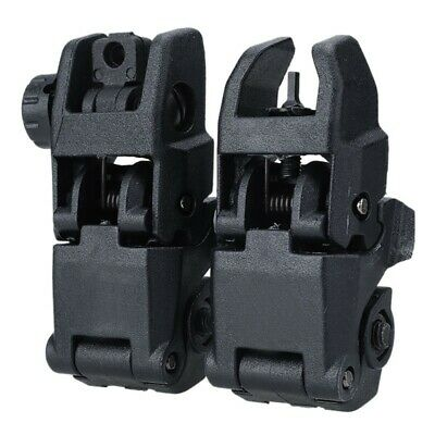 Tactical Folding AR Front Rear Flip Up Backup Sights BUIS MBUS Set 223 5.56