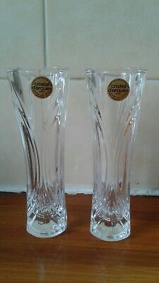 A Pair Of Cristal D'arques 17 Cm Vases.one Boxed