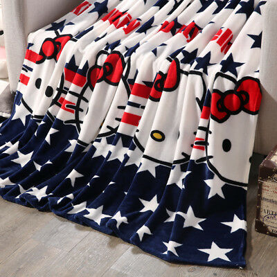 Cartoon Soft Warm Flannel Blanket Plush Baby Single Double Queen Size Throw Rug