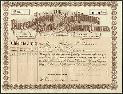 South Africa: Buffelsdoorn Estate and Gold Mining Co. Ltd., £1 shares, 1899