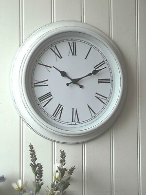 Shabby Chic LARGE Antique White WALL CLOCK Antique Vintage Style 40cm NEW