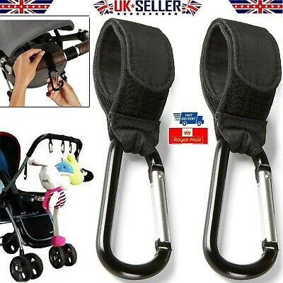 2x SHOPPING BAG HOOKS FOR BUGGY PRAM PUSHCHAIR STROLLER CLIPS LARGE HAND CARRY