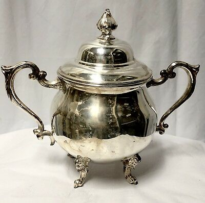 Sheridan Silver Plate Large Sugar Bowl with Lid Semi Cleaned 7.5""