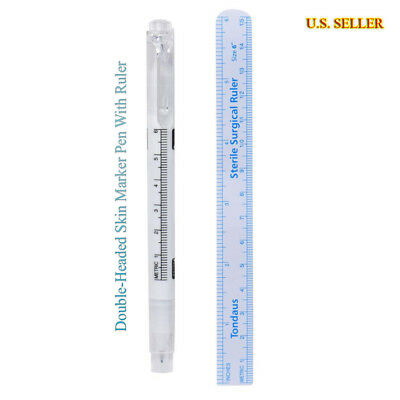 Tattoo Piercing Skin Marker Medical Surgical Pen + Ruler Eyebrow Microblading