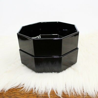 """2x Arcoroc Octime Black Bowl 5 1/2"""" France Octagonal Coupe Soup Cereal Glass Vtg"""