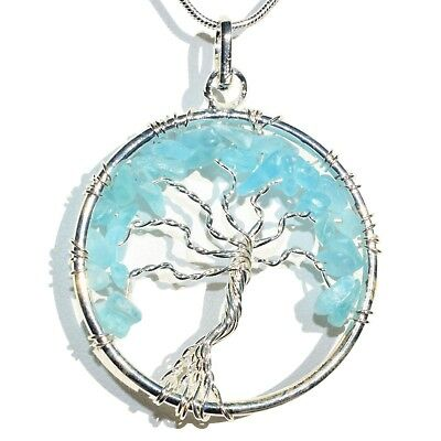 """CHARGED Natural Blue Apatite Tree of Life Perfect Pendant™ 20"""" Silver Chain"""