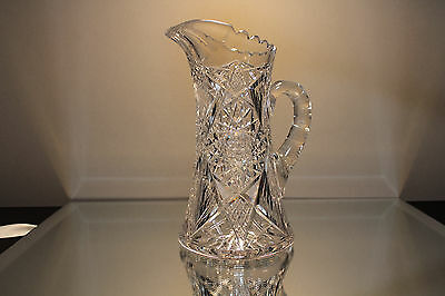 American Brilliant Period Cut Glass Juice Water Pitcher ANTIQUE ABP Hobstar