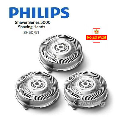 3 x Quality Shaver Heads Razor Blades for Philips Norelco SH50/51/52 5000 Series