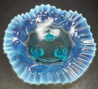 Antique Northwood Blue Opalescent Glass Beaded Cable Footed Bowl Circa 1904