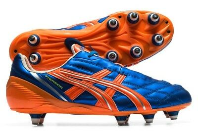 Mens Asics Tigeror St PJ409 4730 Blue Silver Orange  Rugby Lace Up Boots