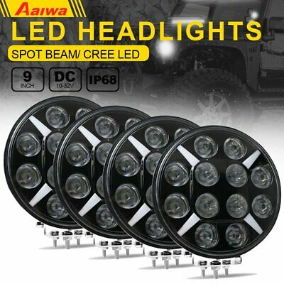4x 9Inch Round LED Work Light Spot Driving Lamp Headlight offroad ATV Truck 120W