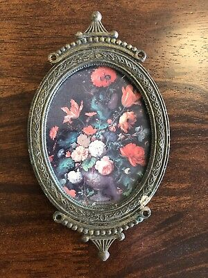 Vintage Small Ornate Oval Brass Picture Frame Made in ITALY  Antique Metal Frame