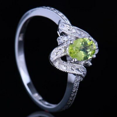 Fatanstic Oval 6x4mm Peridots 14K White Gold Natural SI/H Diamonds Wedding Ring