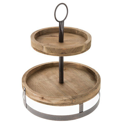 Round Two Tier Wood Rustic Tabletop Stand Storage Tray Farmhouse Charm