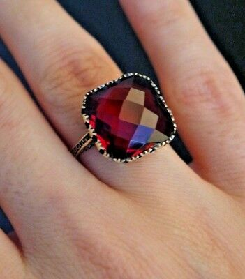 925 Sterling Silver Handmade Authentic Turkish Ruby Ladies Ring Size 6-10
