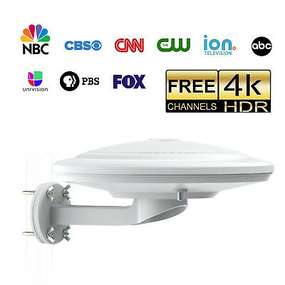 Waterproof 100 Mile TV Antenna Omni-directional Amplified Antenna for VHF/UHF