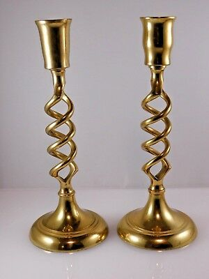 Twisted Brass Candlesticks 7 1/2 Inch Height - One Pair - Made in India