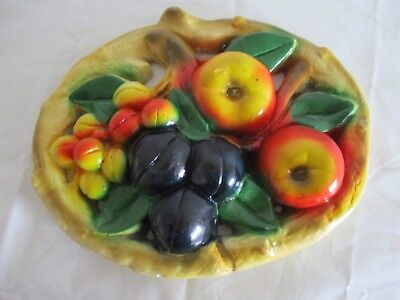oval plaster fruit wall plaque