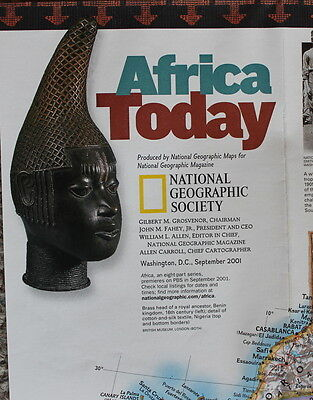 Africa's Natural Realms  Africa Today  National Geographic Map Poster Sept 2001