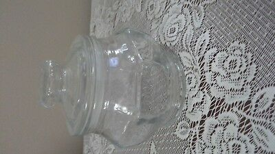 "Vintage Candy Jar Trinket Apothecary Jar Clear Glass KIG Indonesia -6"" tall"