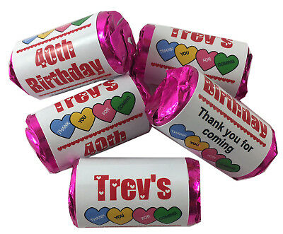 Personalised Birthday Mini Love Heart Sweets Favours 13th 16th 18th 21st 30 40