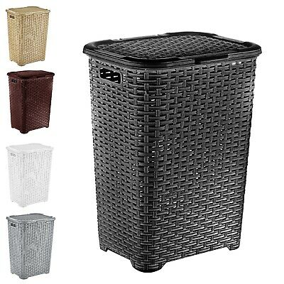 Large Laundry Basket Black Plastic Large Rattan Effect Style hamper bin
