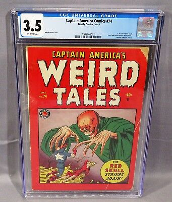 CAPTAIN AMERICA COMICS WEIRD TALES #74 (Red Skull Cover) CGC 3.5 VG- Timely 1949