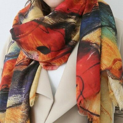 Women Ladies Print Winter Soft Warm Faux Cashmere Long Scarves Wrap Shawl Scarf