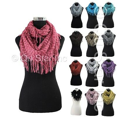 Winter Fashion Boho Zig Zag Fringe Soft Crochet Knitted Infinity Cowl Scarf