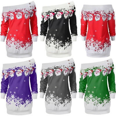 UK Women Girls Christmas Jumper Dress Ladies Xmas Santa Long Sleeves Tops Blouse